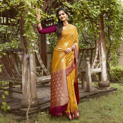 Entrancing Mustard Colored Festive Wear Woven Silk Saree