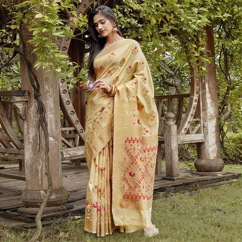 Glowing Light Yellow Colored Festive Wear Woven Silk Saree