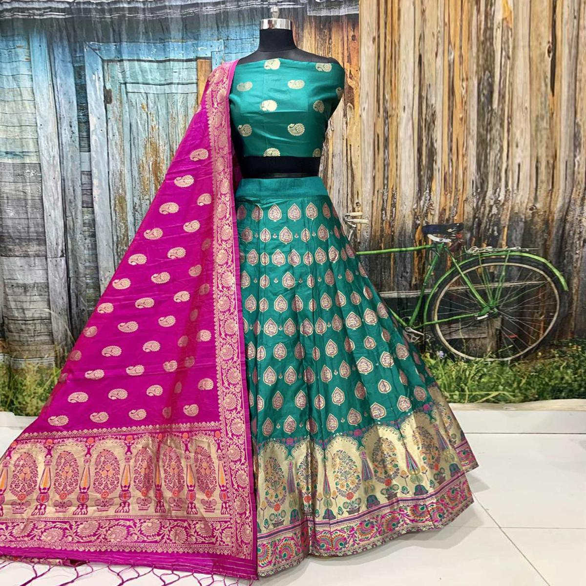 Excellent Turquoise Green Colored Party Wear Woven Banarasi Silk Lehenga
