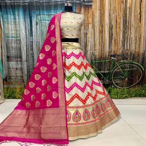 Preferable Off White Colored Party Wear Woven Banarasi Silk Lehenga