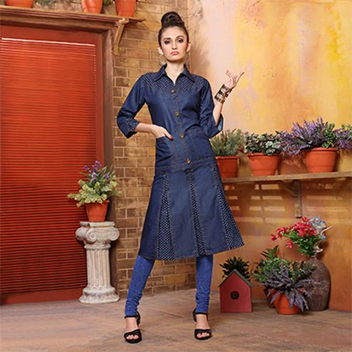 Beautiful Blue Denim Designer Kurti