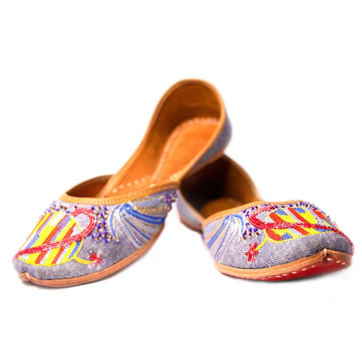 Peppithreads - Ethnic Genuine Leather Embroidered Flats for Ladies