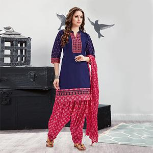 Flamboyant Blue Embroidered Partywear Cotton Patiyala Suit