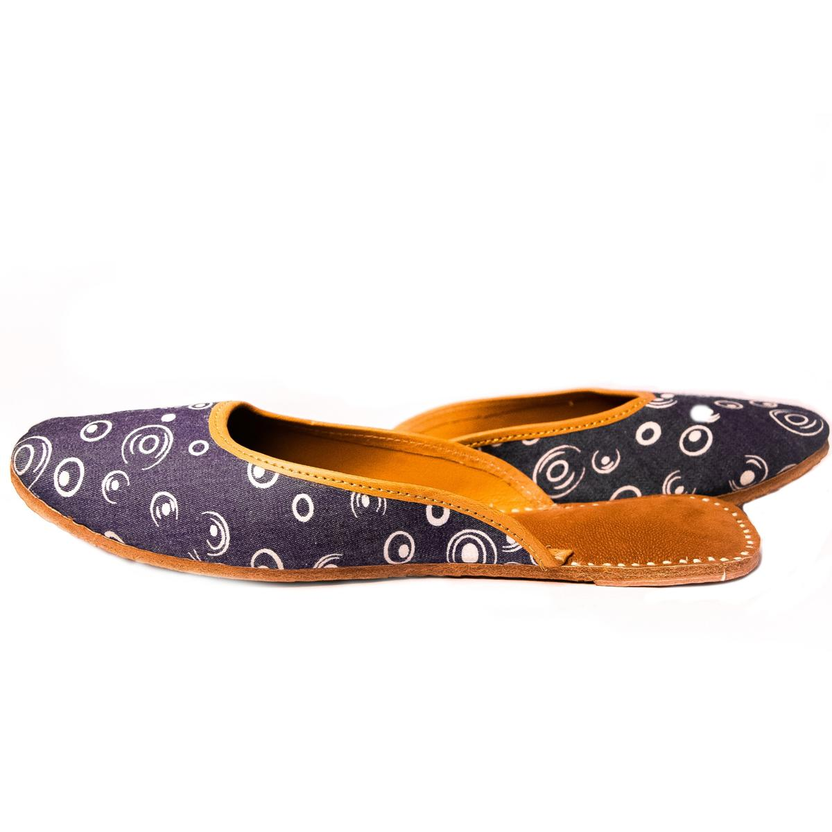 Peppithreads - Ethnic Genuine Leather Denim Printed Flats for Ladies