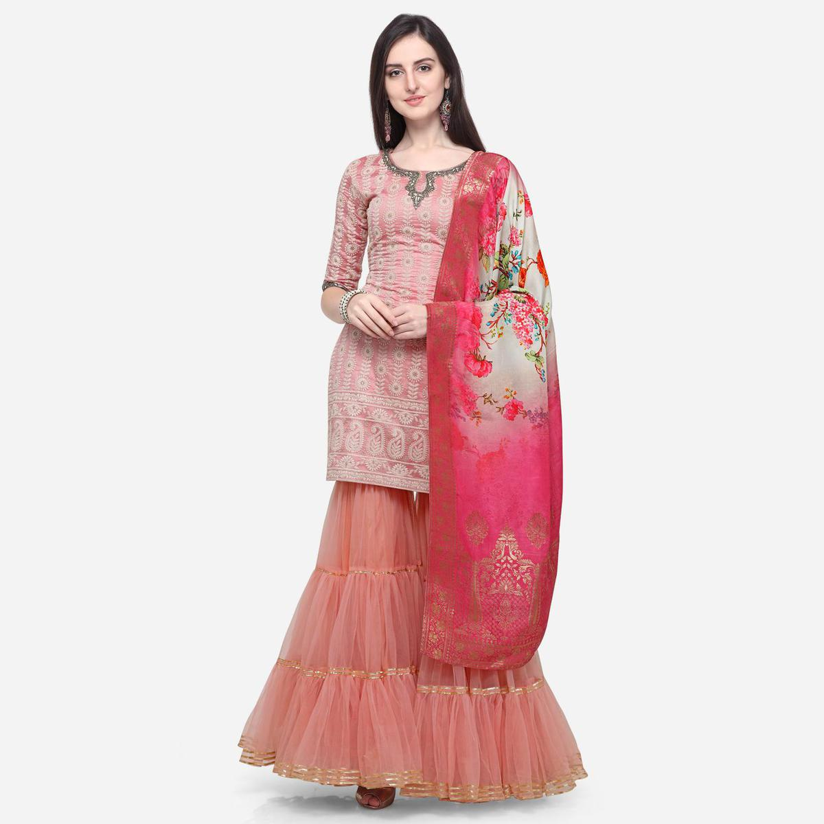 Stylee Lifestyle - Pink Colored Party Wear Embroidered Chanderi Silk Sharara Suit
