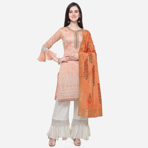 Stylee Lifestyle - Peach Colored Party Wear Embroidered Chanderi Silk Palazzo Suit