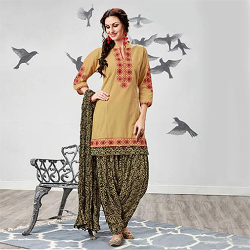 Graceful Beige Embroidered Partywear Cotton Patiyala Suit