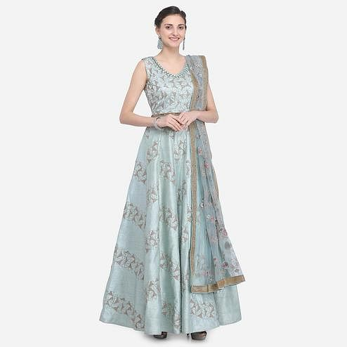 Stylee Lifestyle - Turquoise Colored Party Wear Embroidered Raw Silk Anarkali Suit