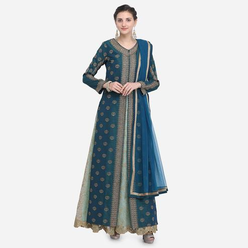 Stylee Lifestyle - Green Colored Party Wear Embroidered Raw Silk Suit