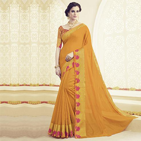 Yellow Weaving and Embroidered Work Saree