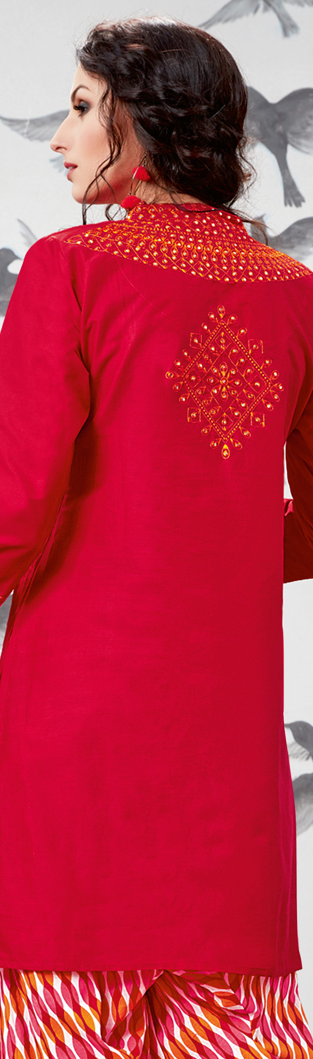 Gorgeous Red Embroidered Partywear Cotton Patiala Suit