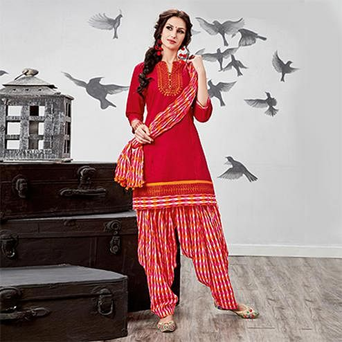 Gorgeous Red Embroidered Partywear Cotton Patiyala Suit