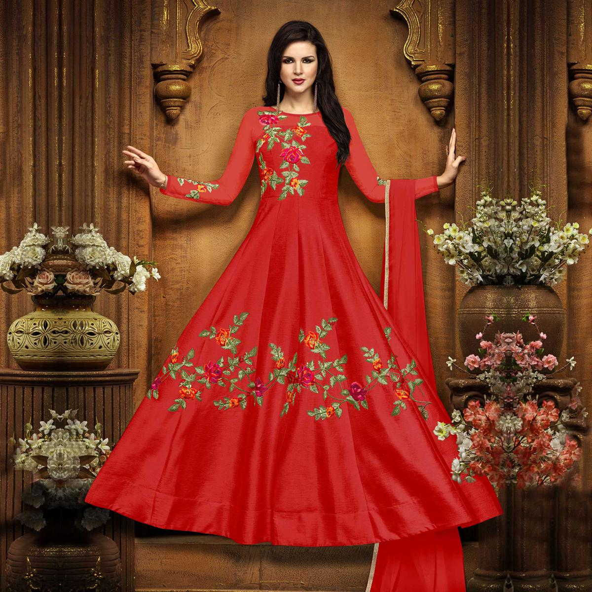 a1eaddcfed Buy Beautiful Red Designer Embroidered Partywear Chennai Silk Anarkali Suit  for Women online India, Best Prices, Reviews - Peachmode