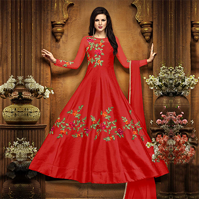 Beautiful Red Designer Embroidered Partywear Chennai Silk Abaya Style Anarkali Suit
