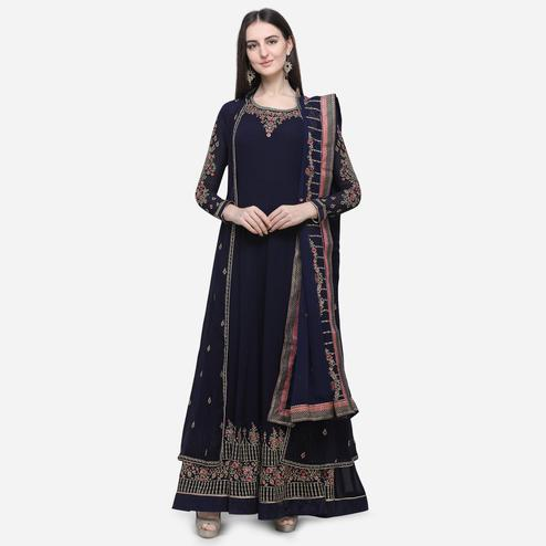 Stylee Lifestyle - Navy Blue Colored Party Wear Embroidered Georgette Anarkali Suit