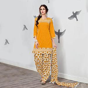 Ravishing Yellow Embroidered Partywear Cotton Patiyala Suit