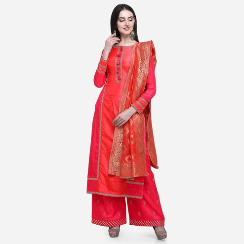 Stylee Lifestyle - Red Colored Party Wear Embroidered Satin Palazzo Suit