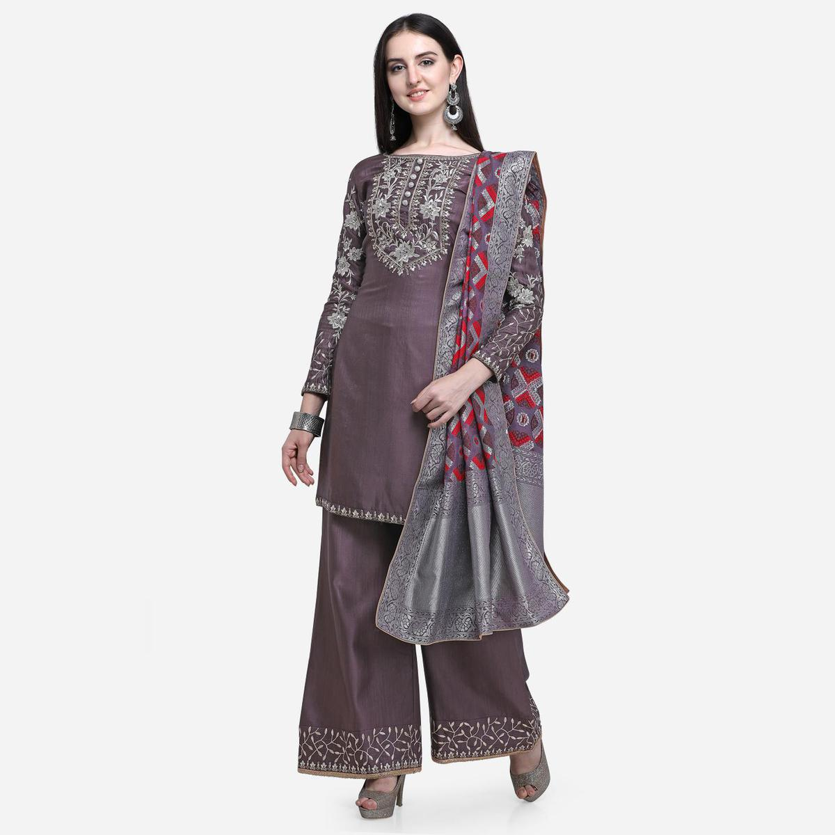 Stylee Lifestyle - Purple Colored Party Wear Embroidered Art Silk Palazzo Suit