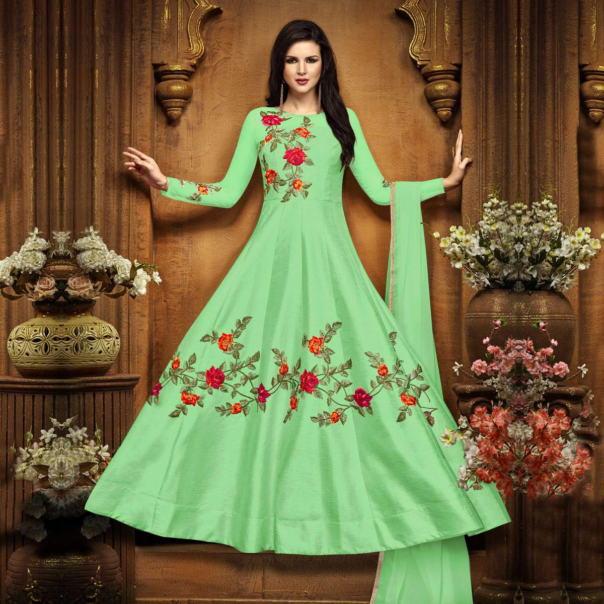 Graceful Green Designer Embroidered Partywear Chennai Silk Abaya Style Anarkali Suit
