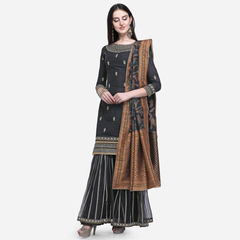 Stylee Lifestyle - Black Colored Party Wear Embroidered Raw Silk Sharara Suit