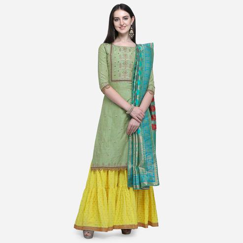 Stylee Lifestyle - Green Colored Party Wear Embroidered Art Silk Sharara Suit
