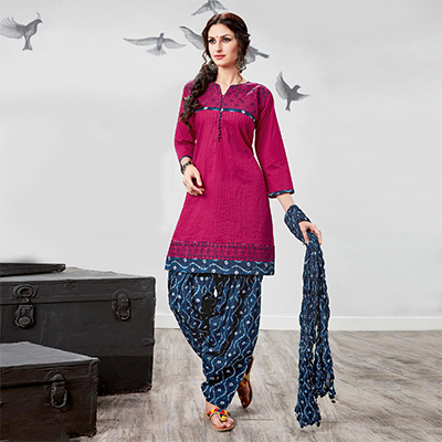 Dazzling Pink Embroidered Partywear Cotton Patiyala Suit