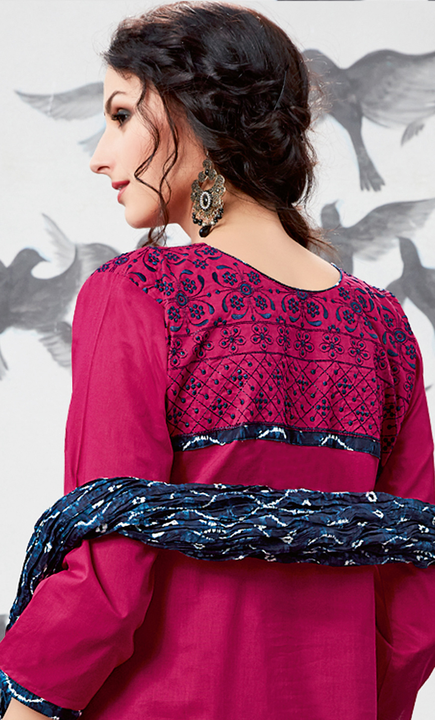 Dazzling Pink Embroidered Partywear Cotton Patiala Suit