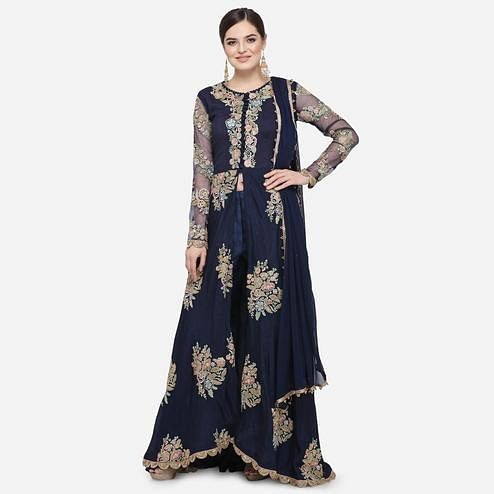 Stylee Lifestyle - Navy Blue Colored Party Wear Embroidered Art Anarkali Suit