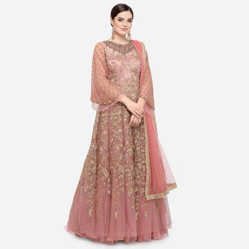 Stylee Lifestyle - Pink Colored Party Wear Embroidered Net Anarkali Suit
