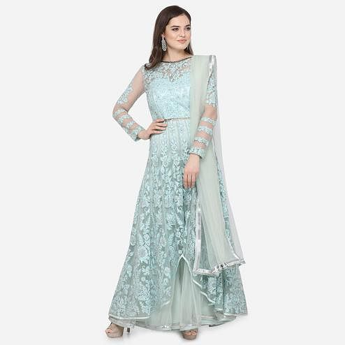Stylee Lifestyle - Green Colored Party Wear Embroidered Net Anarkali Suit