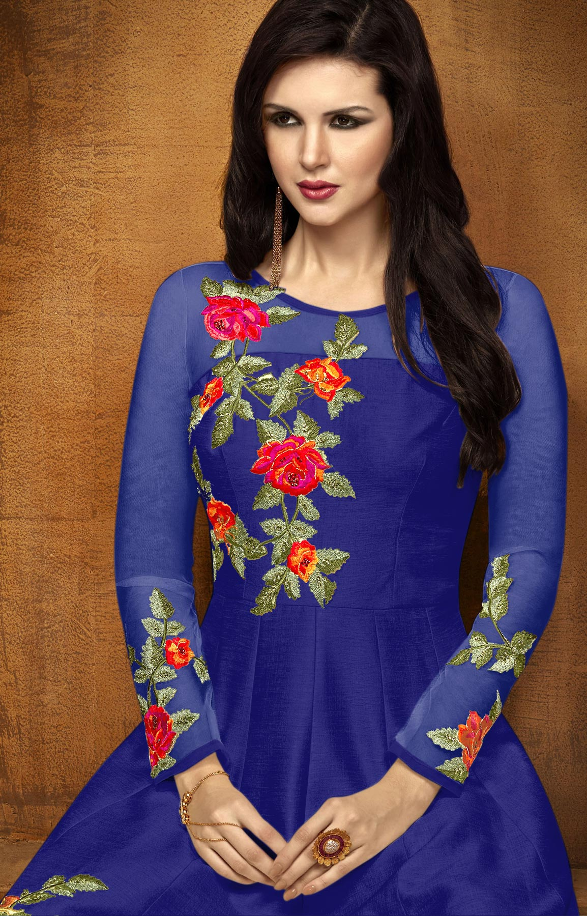 Mesmerising Royal Blue Designer Embroidered Partywear Chennai Silk Abaya Style Anarkali Suit