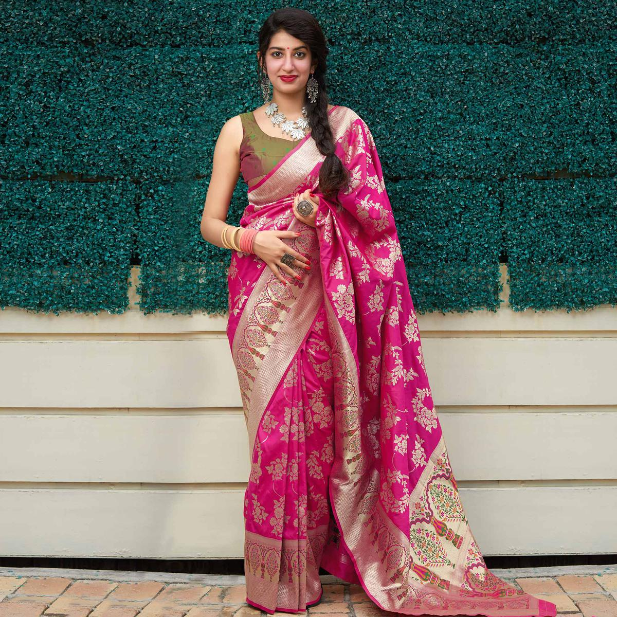 Magnetic pink Colored Festive Wear Woven Silk Saree