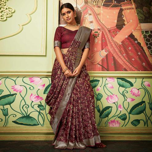 Alluring Maroon Colored Festive Wear Woven Banarasi Silk Saree