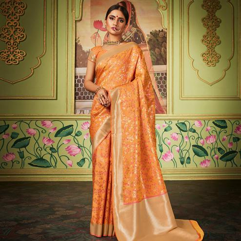 Sensational Orange Colored Festive Wear Woven Banarasi Silk Saree