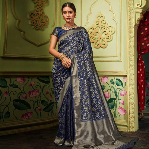 Flaunt Navy Blue Colored Festive Wear Woven Banarasi Silk Saree