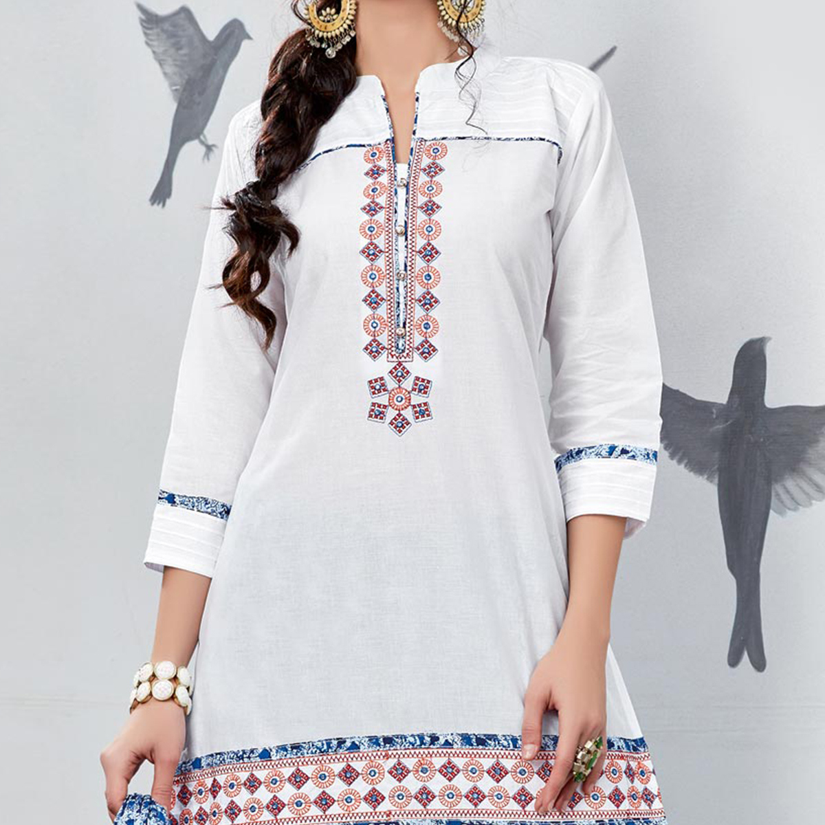 Sizzling White Embroidered Partywear Cotton Patiyala Suit