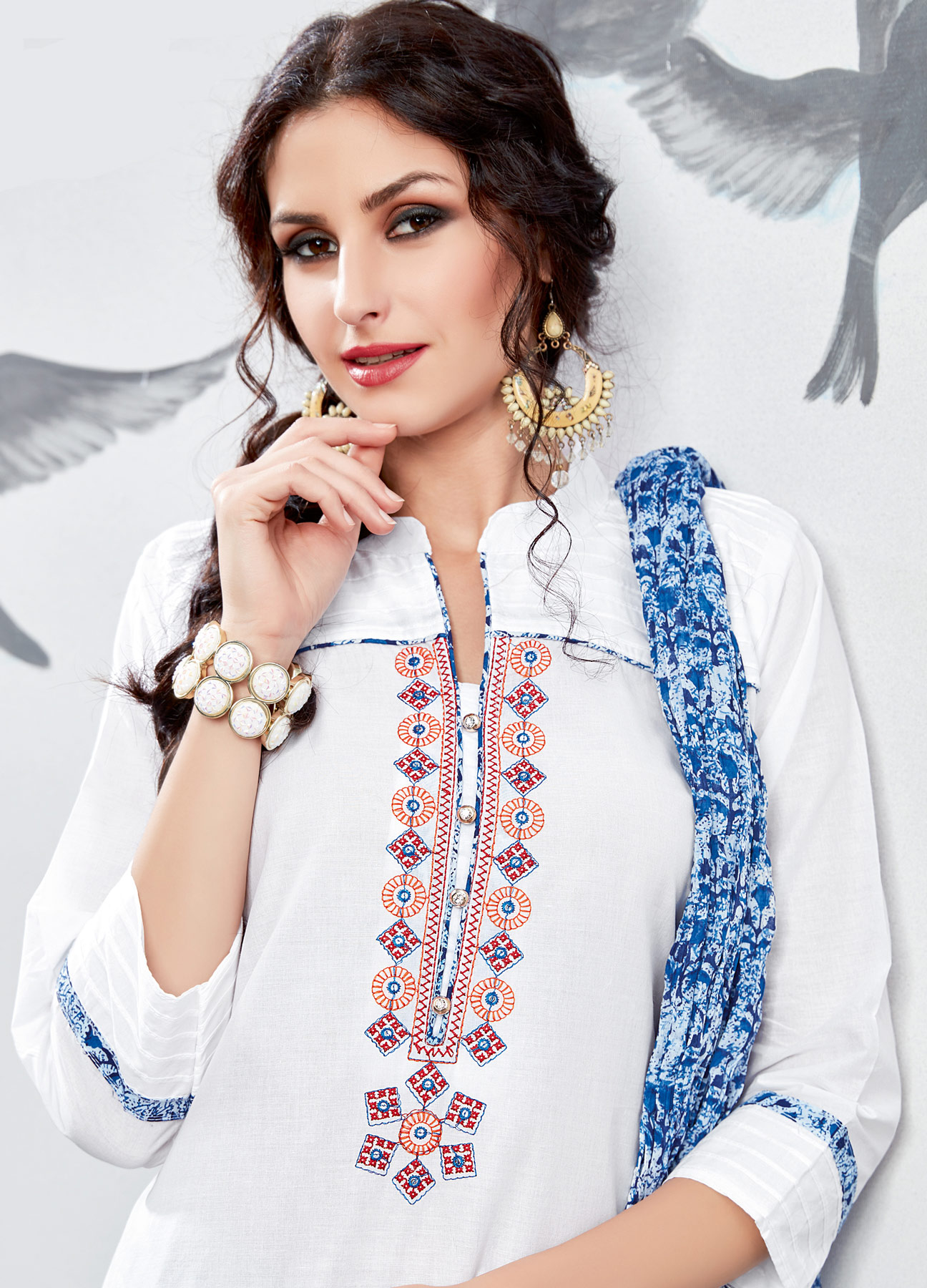 Sizzling White Embroidered Partywear Cotton Patiala Suit