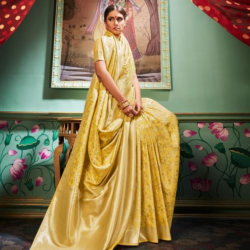 Stunning Yellow Colored Festive Wear Woven Banarasi Silk Saree