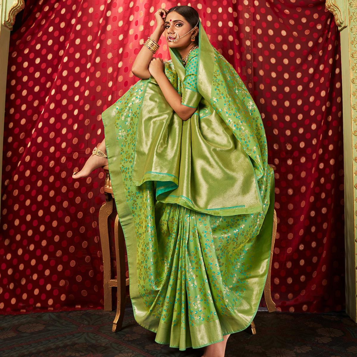 Flirty Green Colored Festive Wear Woven Banarasi Silk Saree