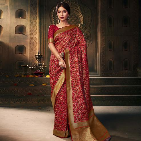 Flattering Maroon Colored Festive Wear Woven Banarasi Silk Saree