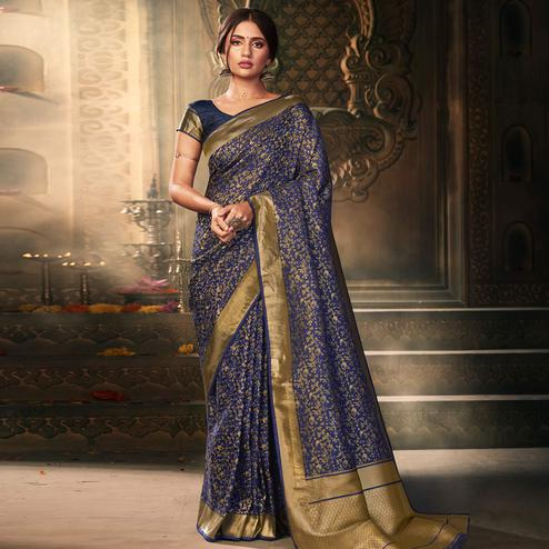 Excellent Navy Blue Colored Festive Wear Woven Banarasi Silk Saree