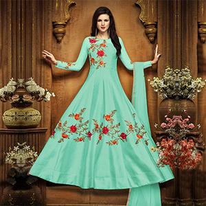 Charming Sky Blue Designer Embroidered Partywear Chennai Silk Abaya Style Anarkali Suit