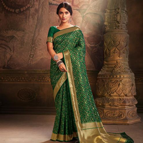 Marvellous Dark Green Colored Festive Wear Woven Banarasi Silk Saree