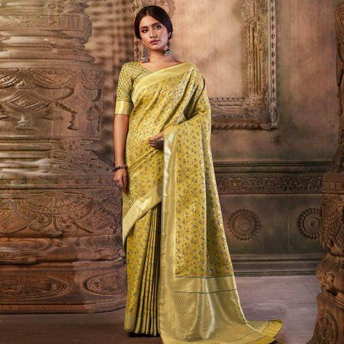Flamboyant Olive Green Colored Festive Wear Woven Banarasi Silk Saree