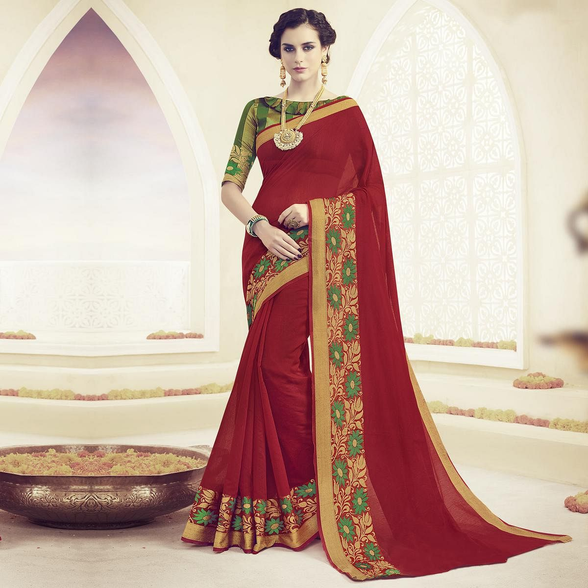 Red Floral Embroidered Work Weaving Saree
