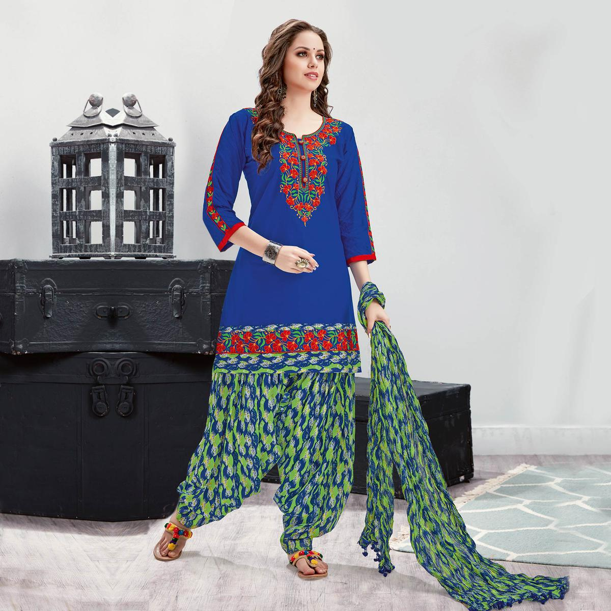 Mesmerising Blue Embroidered Partywear Cotton Patiala Suit