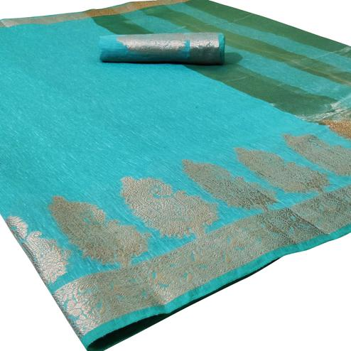 Gorgeous Turquoise Blue Colored Festive Wear Woven Silk Saree