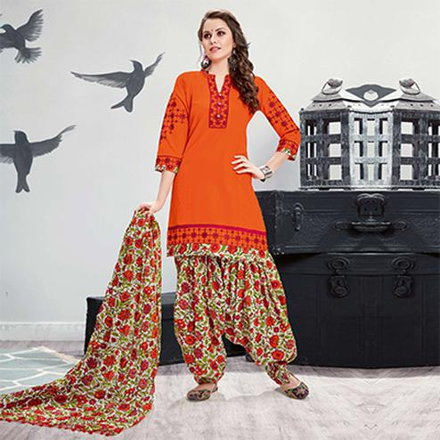 Dazzling Orange Embroidered Partywear Cotton Patiyala Suit