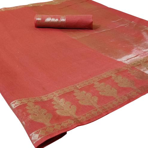 Impressive Peach Colored Festive Wear Woven Silk Saree