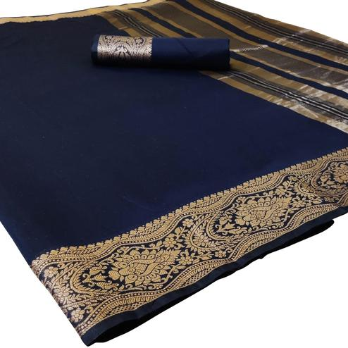 Mesmerising Navy Blue Colored Festive Wear Woven Silk Saree
